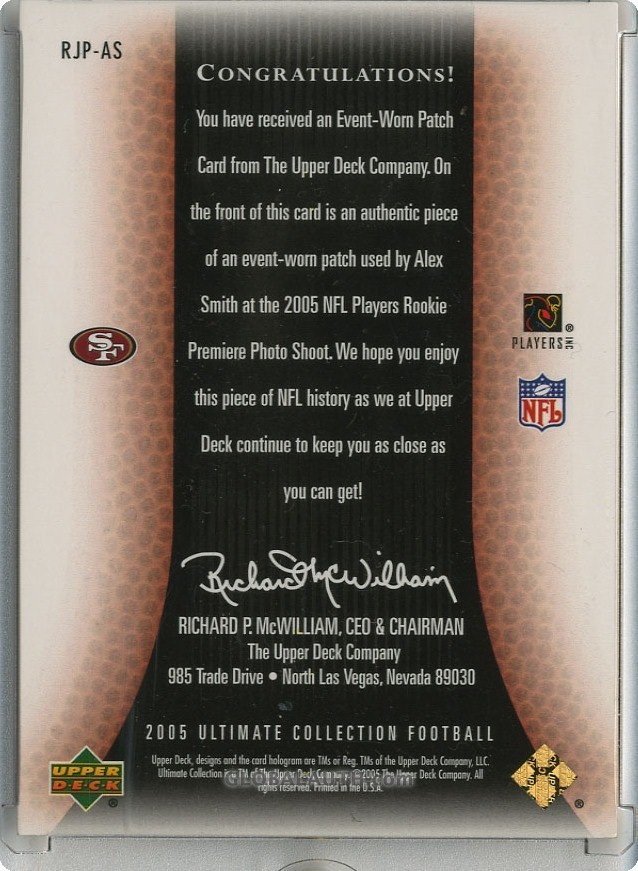 2005-ultimate-collection-rookie-jersey-patch-rjp-as-alex-smith-qb-back-image.jpg, #1
