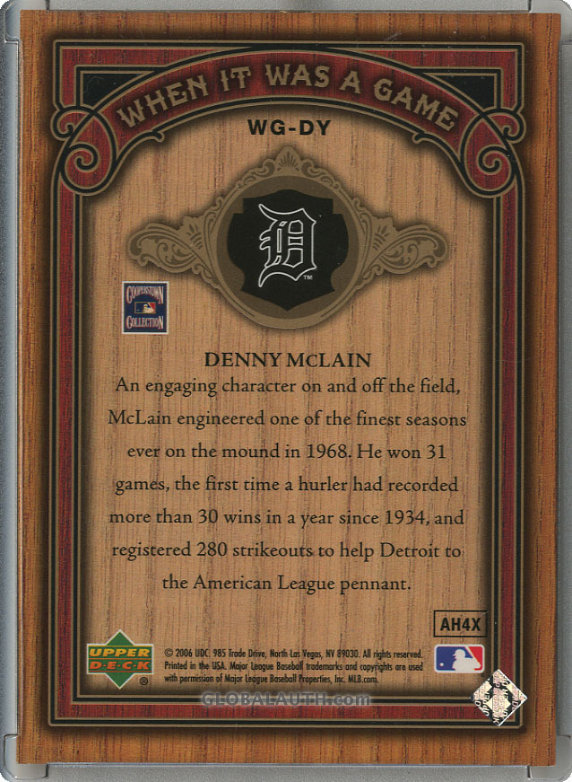 2006-sp-legendary-cuts-when-it-was-a-game-gold-ws-dy-denny-mclain-back-image.jpg, #1