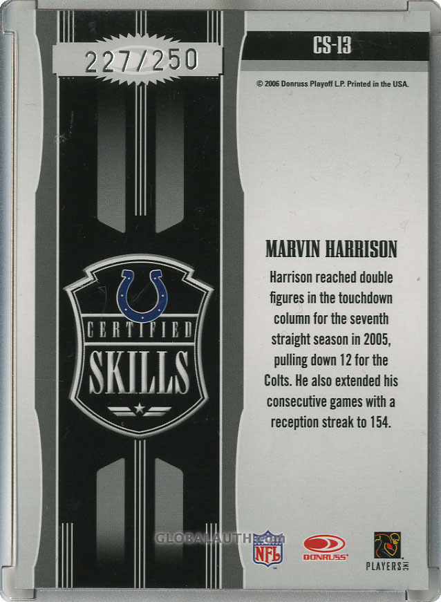 2006-leaf-certified-materials-certified-skills-red-cs-13-marvin-harrison-back-image.jpg, #1