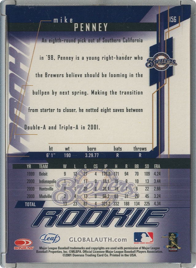 2001-leaf-rookies-and-stars-chicago-collection-156-mike-penney-back-image.jpg, #1