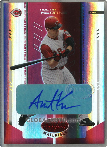 2004 Leaf Certified Materials Mirror Autograph Red #16: Austin Kearns
